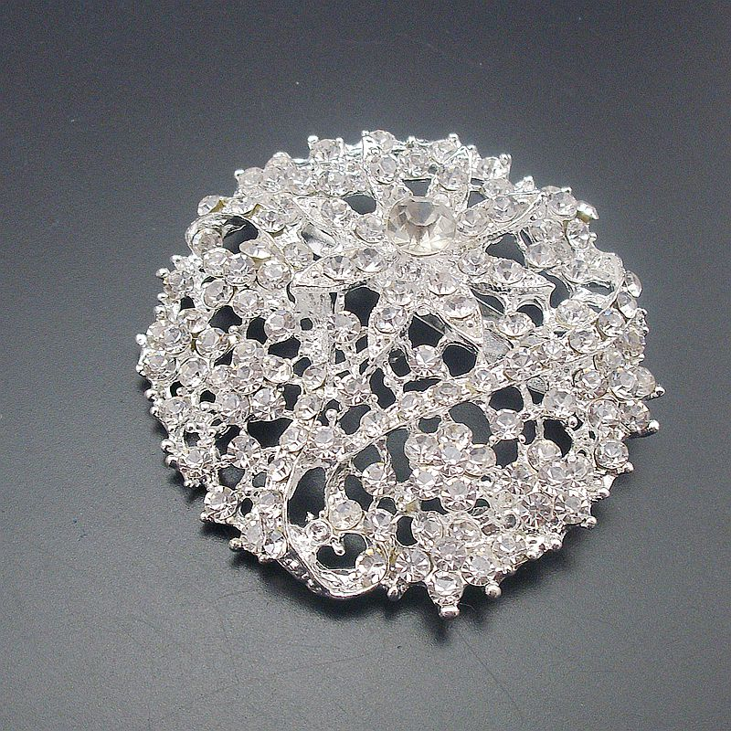 Silver Plated Large Rhinestone Clear Crystal Rould Flower Brooch for Wedding Invitation item no BH7418