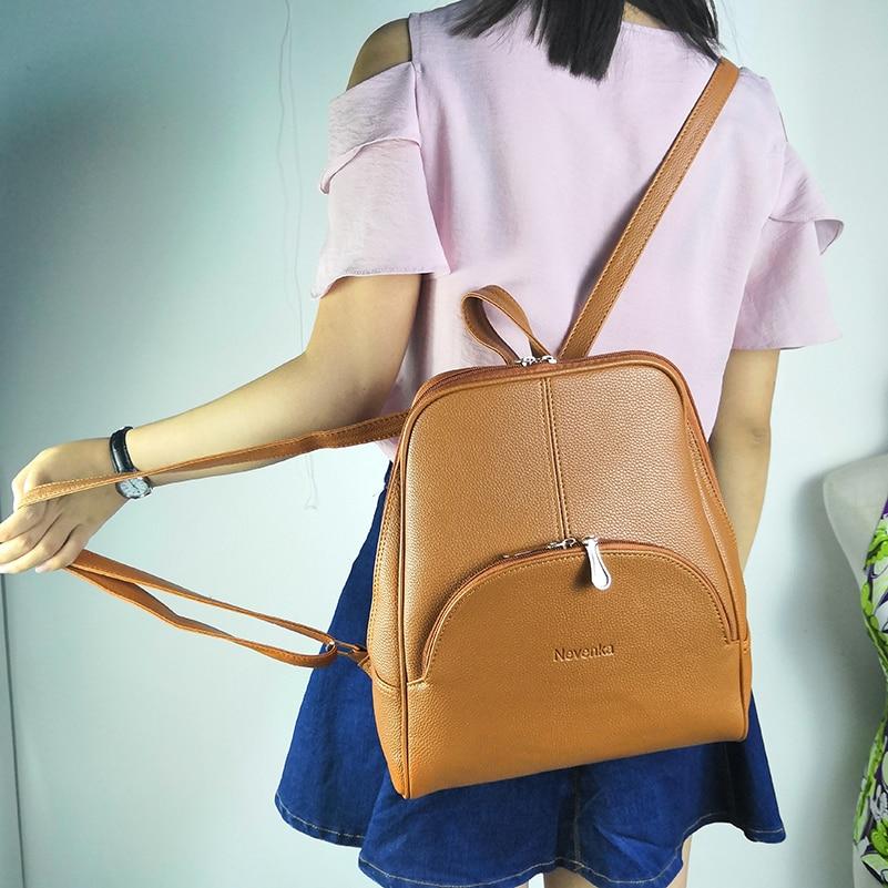 HTB1WNpRTsfpK1RjSZFOq6y6nFXac Nevenka Leather Backpack Women Solid Backpacks Light Weight Bag Cute Top Handle Backpacks for Girls Mini Backpack Female Bagpack