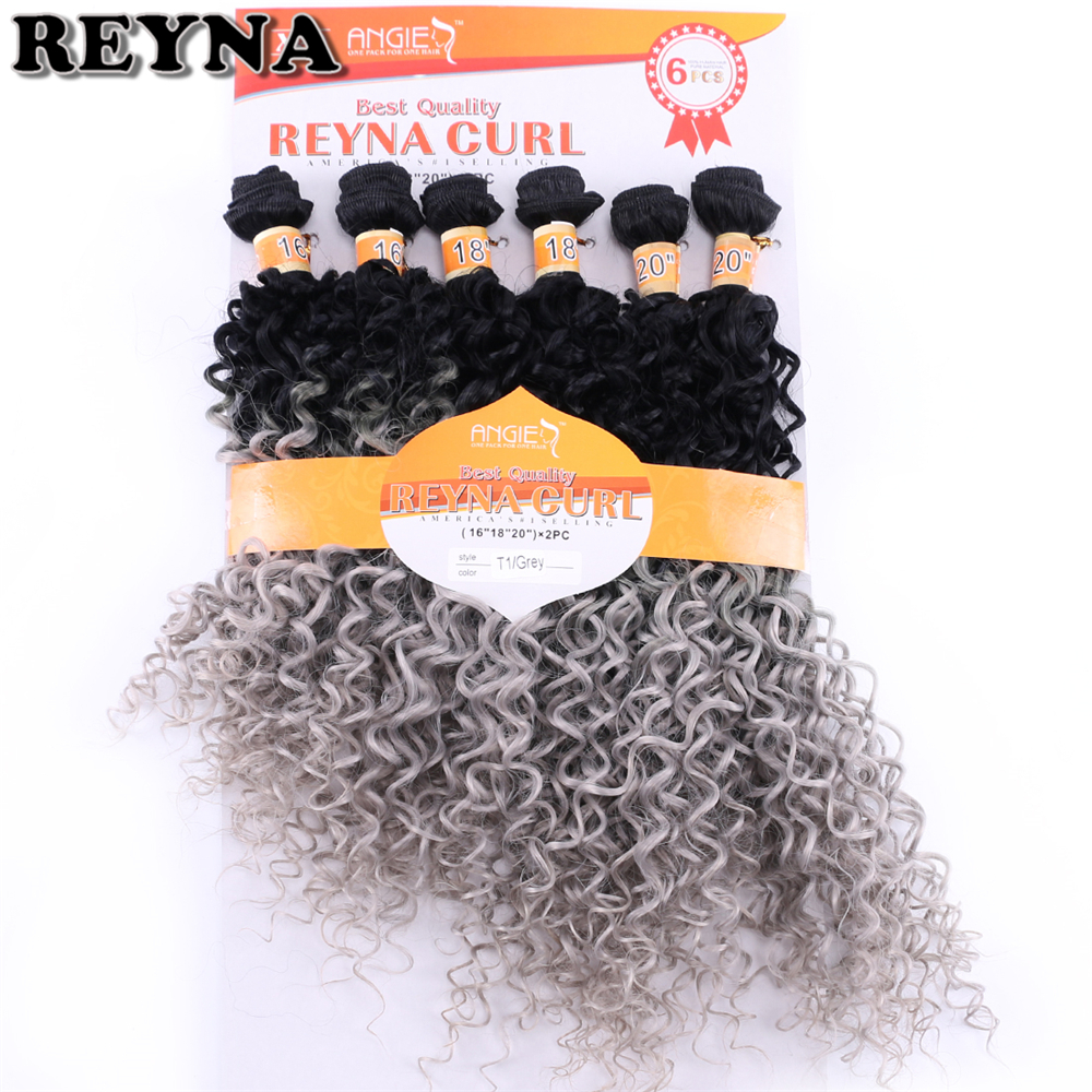 Reyna Black To Grey Afro Kinky Curly Hair Extensions 16-20 Inch 6pcs/lot 200 Gram Synthetic Hair Weaving Curly Bundles