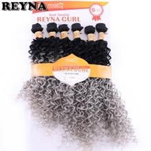 Reyna extensiones de cabello sintético rizado Afro, negro a gris, 6 unidades/lote, 200 gramos, mechones para tejer cabello