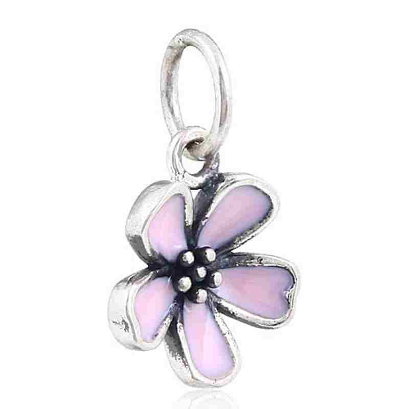 Choruslove Cherry Blossom Charm Orchid Bead 925 Sterling Silver Flower Beads fit Original Pandora Charms Floral Series Bracelet in Beads from Jewelry Accessories