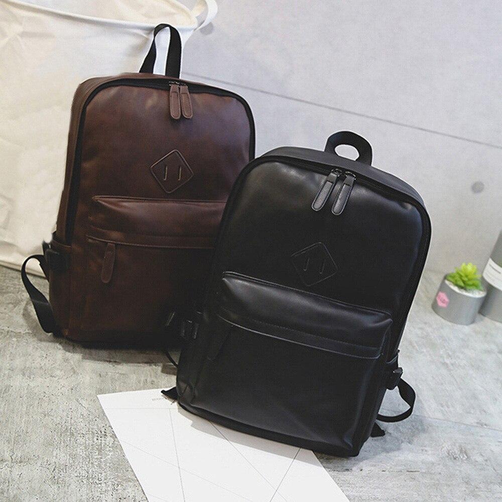 f5dc2334cfb3 Unisex Men Women's School bag Neutral Leather Backpack Laptop Satchel  Travel School Rucksack Bag School season Gift mochila -in Backpacks from  Luggage ...