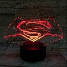 Dc Justice League Superman Batman Logo Usb 3d Led Night Light Cartoon Superhero Boys Kids Birthday Gifts Table Lamp Bedside