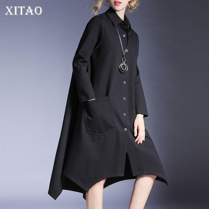e51295fea28ee7 Décontracté Gray A Femmes Mode Unie Simple dark De Tranchée xitao Col Black  Bouton Ljt3959 Couleur ...