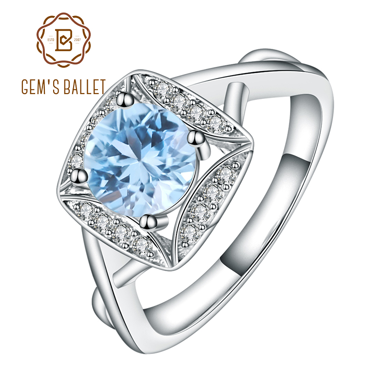 Gem's Ballet Real S925 Sterling Silver Rings for Women Sky Blue Topaz Ring Gemstone Cushion Romantic Gift Engagement Jewelry