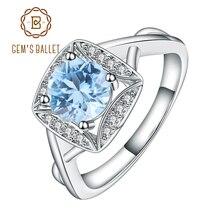อัญมณีบัลเล่ต์จริง S925 แหวนเงินแท้ผู้หญิง Sky Blue Topaz แหวนพลอย Cushion ของขวัญโรแมนติกหมั้นเครื่องประดับ