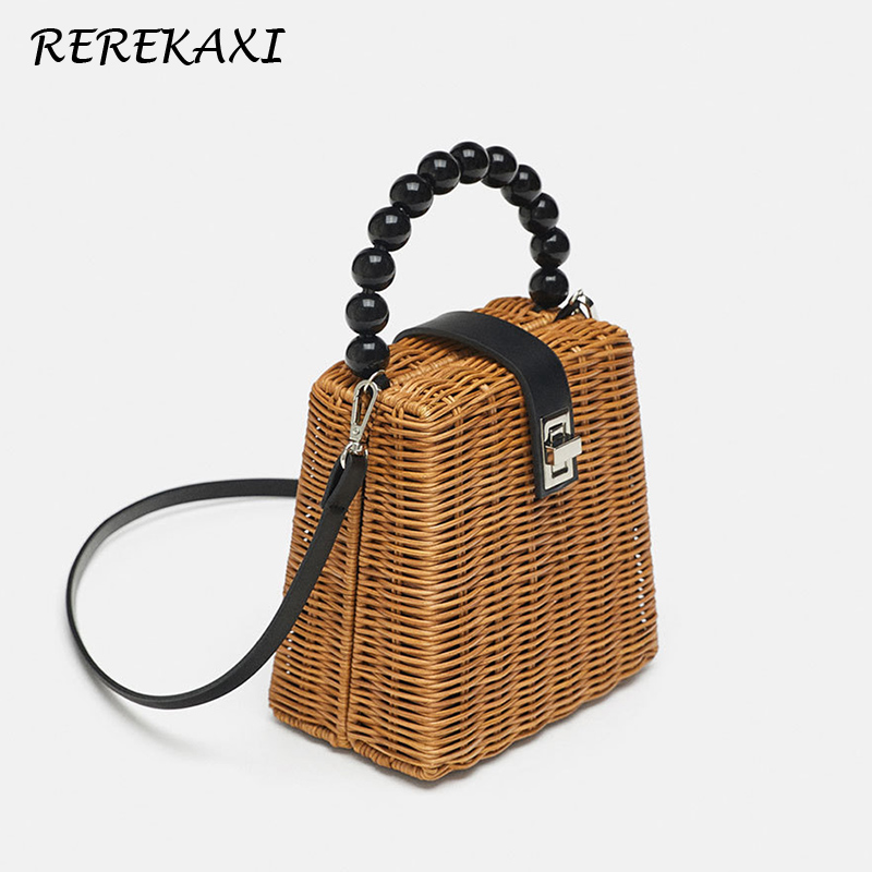 REREKAXI Mini Rattan Women's Tote Wicker Woven Female Shoulder Messenger Bag Handmade Straw Beach Bags Beaded Tote Crossbody Bag