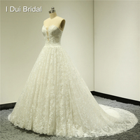 Sweetheart Ball Gown Lace Wedding Dresses Chapel Train Illusion Design Factory Real Photo Custom Made 2016