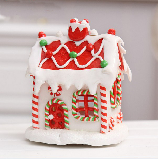 wholesale phoebe shop 2016 christmas decoration clay lamp gingerbread house light christmas decorations ornaments clay crafts