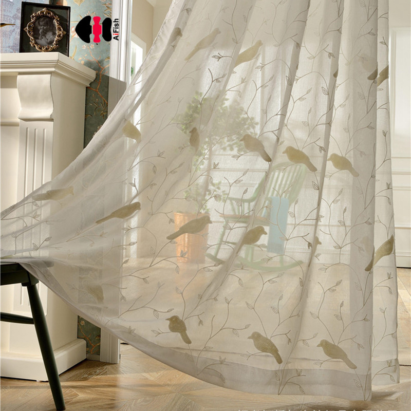 Blue Curtains Bird Branches Sheer Curtains White Tulle