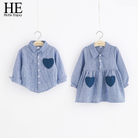 Baby Girls Dress Boys Shirt Casual Autumn Long Sleeve Heart Shaped Pocket Dress Girls Clothes Children