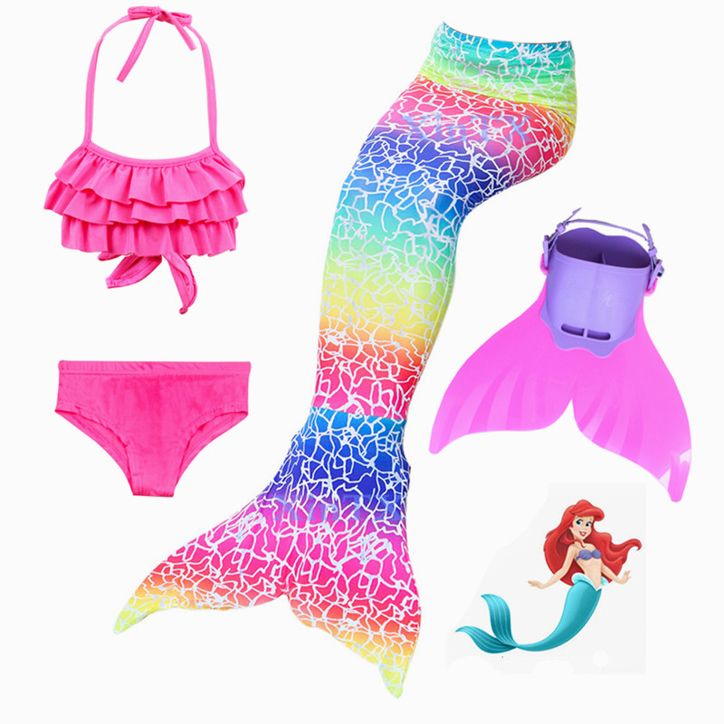 Ariel Mermaid Tail With Monofin for Girls Kids Bikini Costume Swimming Swimmable Mermaid Tail Costume