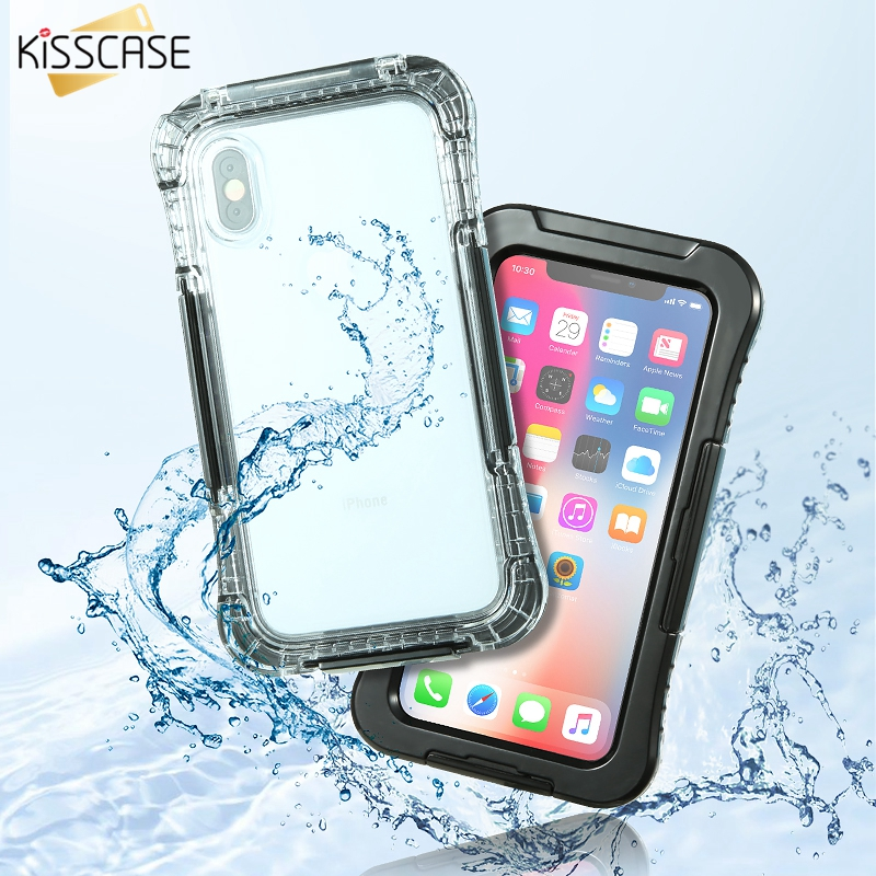 KISSCASE IPX8 Waterproof Case For iPhone X 10 Summer Swimming Diving Phone Case For iPhone 6 6s 7 8 Plus Underwater Phone Covers