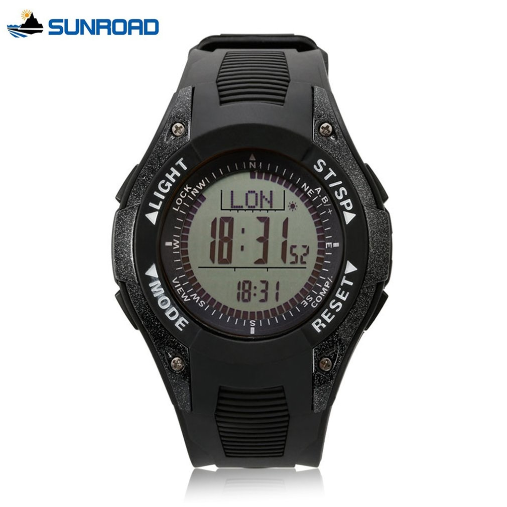 SUNROAD Men's Fishing Sports Digital Watch Altimeter Thermometer LCD Display Compass Barometer Weather Forecast Wristwatches 2 2 blue backlit lcd portable altimeter barometer compass thermometer weather forecast