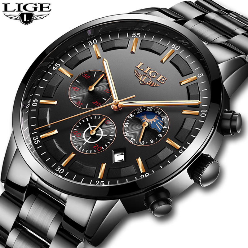 LIGE Men's Quartz Chronograph watch