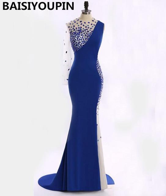 48de14c87 Barato Vestido de Fiesta 2016 Vestidos De Gala Largos Cristales Sexy Sirena  de La Gasa Vestidos