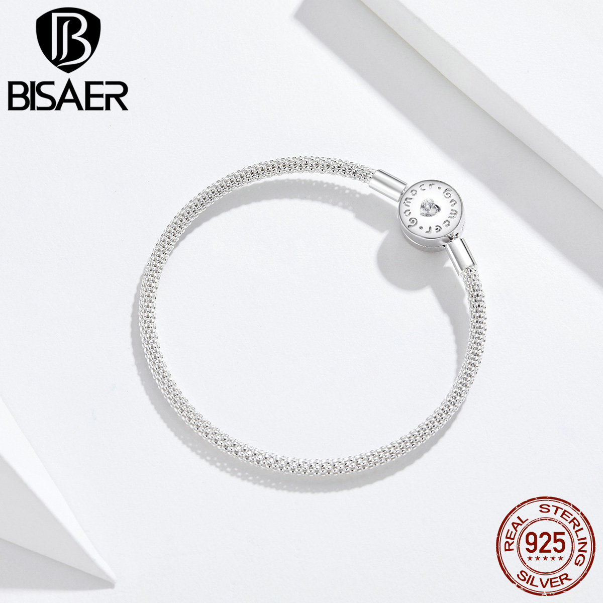 BISAER 925 Sterling Silver Women Bracelets Round Clasp Love Pave Snake Chain Bracelets Sterling Silver Jewelry EFB014