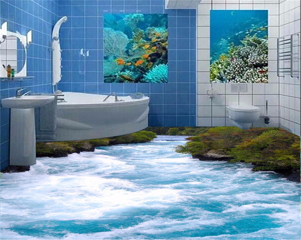 Beibehang Custom wear waterproof non-slip self-adhesive PVC floor wallpaper 3D floor tile mural wallpaper pictures 3d flooring free shipping 3d park small river floor painting living room kitchen hallway non slip floor wallpaper mural