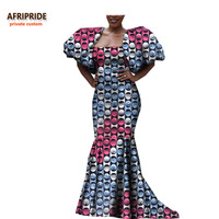 2019 antumn african dress for women AFRIPRIDE short puff sleeve floor length strapless women dress for party and dinner A7225117
