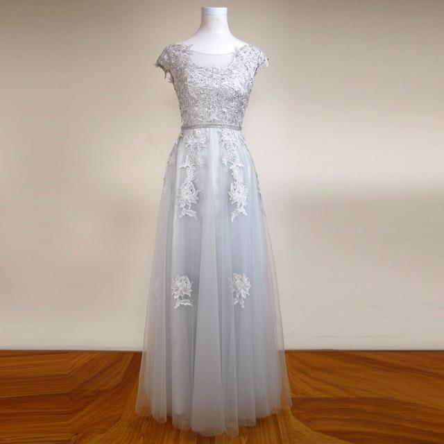Vestido Silver Lace Appliques Beaded Cap Sleeve Evening Dresses Long ...