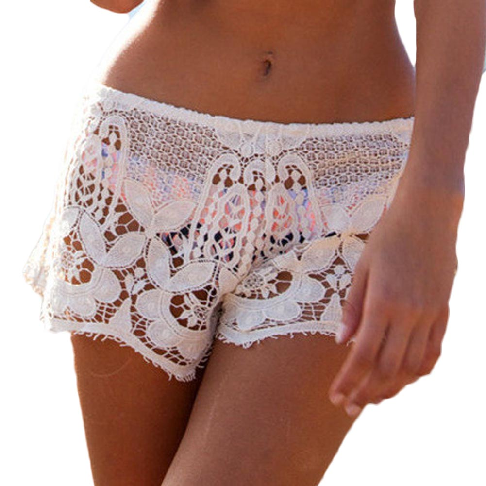 Sexy Womens Lady Summer Beach Swimwear New Shorts Lace Crochet Mini Bikini Cover up Bathing Suits Summer Fashion White Black