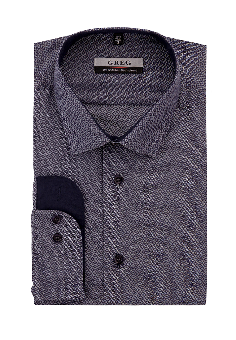 Shirt men's long sleeve GREG 233/139/019/Z/1 Blue 3d bird and flower printed plain fly shirt collar long sleeves shirt for men