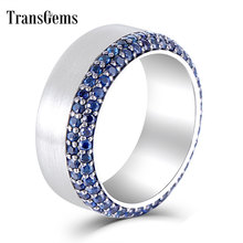 Transgems Sterling 925 Platinum Plated Silver 1.4-1.5mm Dark Sapphire Men Ring Party Wedding Band for Gifts