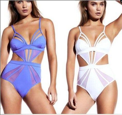 white purple One Piece Swimsuit Women Sexy Mesh Swimwear Hollow Out Bodysuit  Bathing Suit Monokini Beach two piece Swimming Suit b3cf988b137a