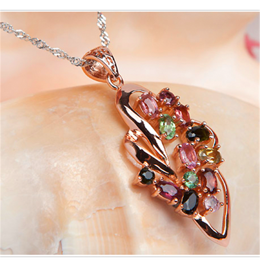 Fashion Jewelry Pendant For Women Necklace Butterfly Mix Color Genuine Tourmaline Crystal Pendant 23*23*4mm