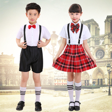 Childrens elementary school choir reading costumes boys and girls bibs show clothes childrens dance uniforms