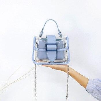 Pcv plaża torebki damskie moda damska wodoodporna przezroczysta torba materiałowa kobiet łańcuchy lato galaretki torby Crossbody Messenger torby