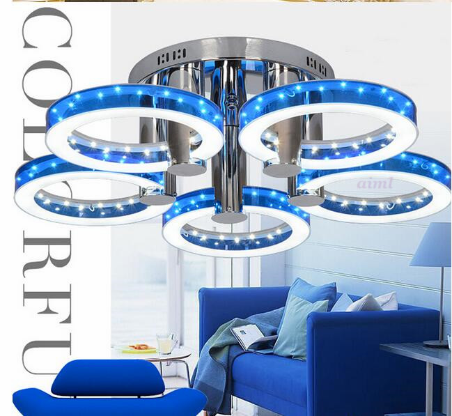 Lucky Ring 18 W LED Ceiling Lights Acrylic with 5 lights (Chrome Finish) Blue Size:73*73*20cm 9w led ceiling lights acrylic with 2 lights chrome finish yellow