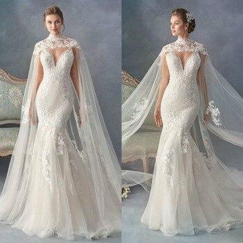 High Neck Long Bridal Bolero Shawls Custom Made Lace Appliques Wedding Cape Wraps
