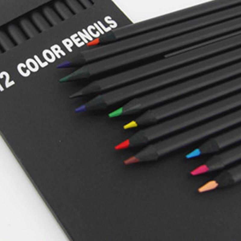 Different-Colours Pencil-Packaging Black School 12pcs/Set High-Quality Kawaii Wood