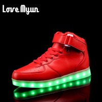 Women LED Glow USB Rechargeable Light Shoes Brand Women Lantern High Top Shoes White Black RED
