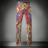 2016 Floral Priting Pants Mens Fancy Trousers Western Style Baroque Trousers Flowers Suits Pants Mens Casual