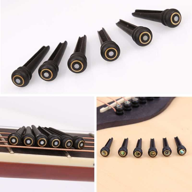 6Pcs/set Ebony Shell Guitar Bridge Pins For Acoustic Guitar Parts & Accessories