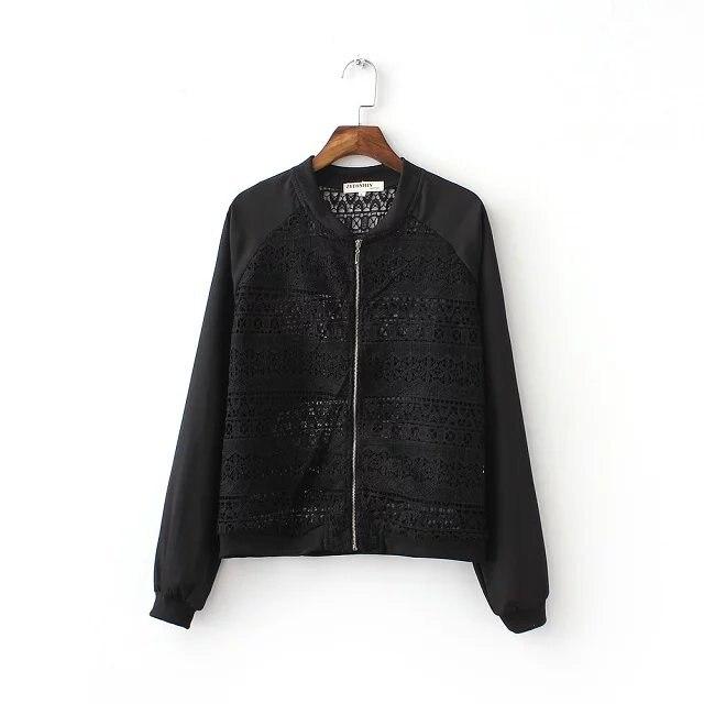 Women black short coat Bomber jacket new 2016 Crochet spliced ...