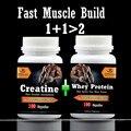 Constructor de músculo rápido 1 + 1> 2, Creatina + Proteína de Suero de leche, suplemento dietético