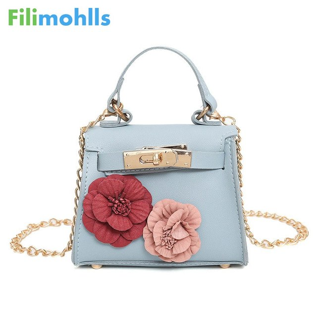 Women Mini Shoulder Bags Flower Pu Coin Purse Party Handbags Ager S Messenger Long Strap