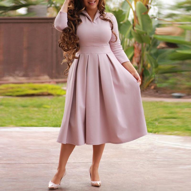 XL Robe 2018 Autumn Winter Dress Big Size Elegant Long ...