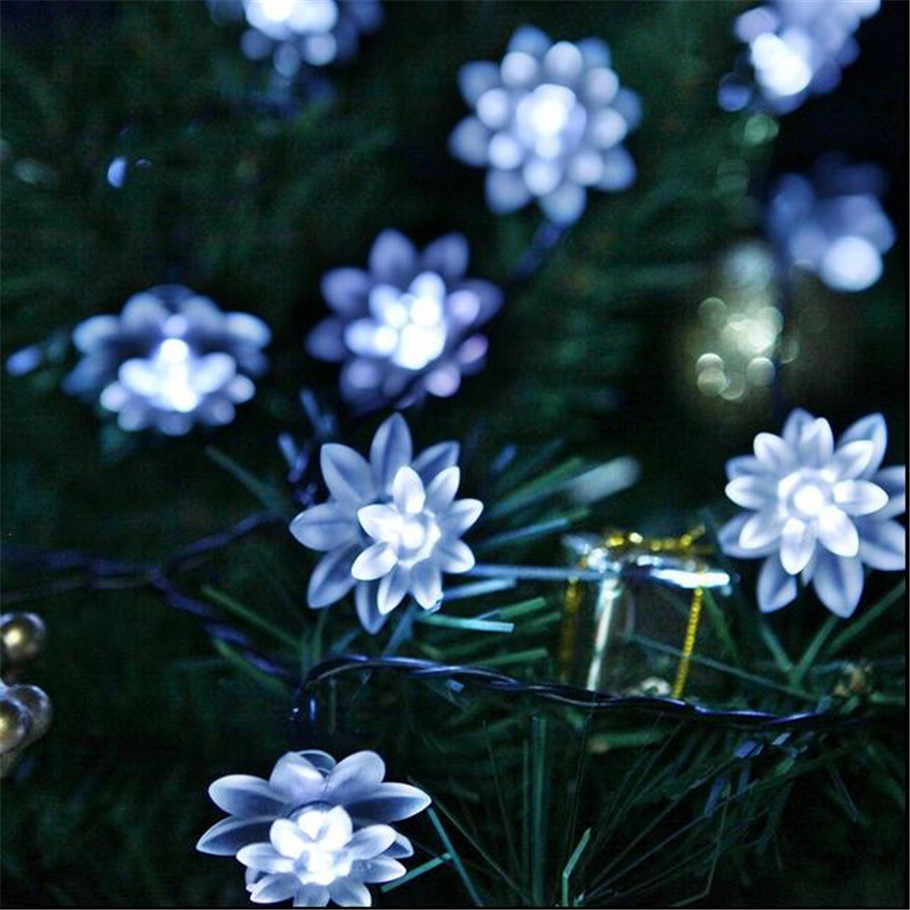 LED Light  Lotus Flower Light String String Lights For Indoor And Outdoor Wedding  Christmas Party Patio Wreath Decoration