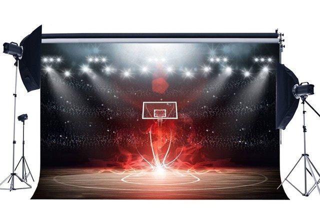 Basketball Court Backdrop Stadium Crowd Bokeh Glitter Stage Lights Shabby Wood Floor Interior 3D  Background