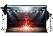 Terrain de basket ball toile de fond stade foule Bokeh paillettes scène lumières Shabby plancher de bois intérieur fond 3D