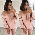 New Sexy Womens Summer Casual Loose Boho Off Shoulder long sleeve shirt tops
