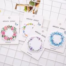 1 Pcs New Korean Kawaii Flower Wreath Sticky Notes Creative Notepad DIY Memo Pad Office Supplies School Stationery