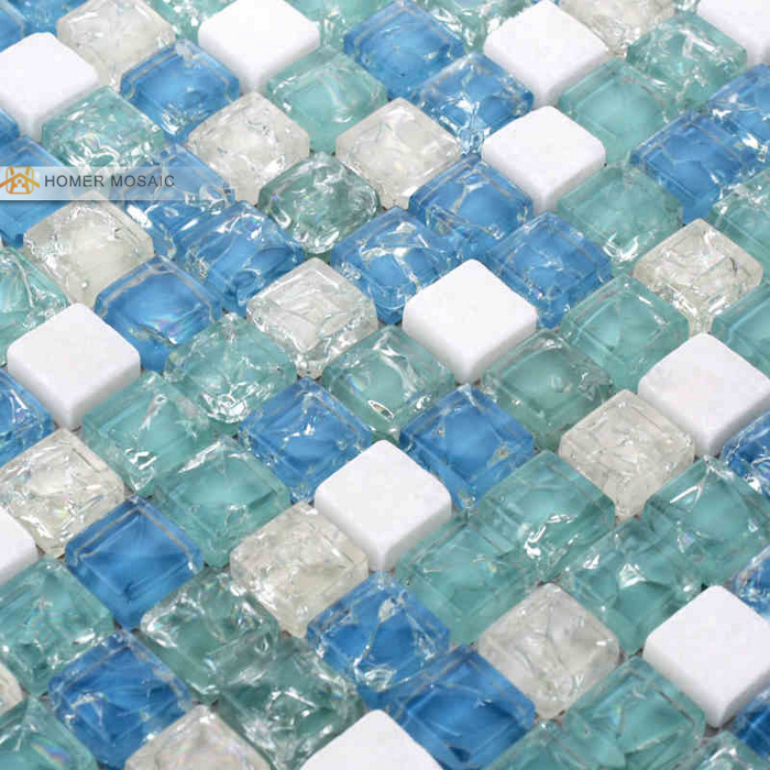 Mediterranean Blue Glass Mixed Stone Tile 12x12 Wall