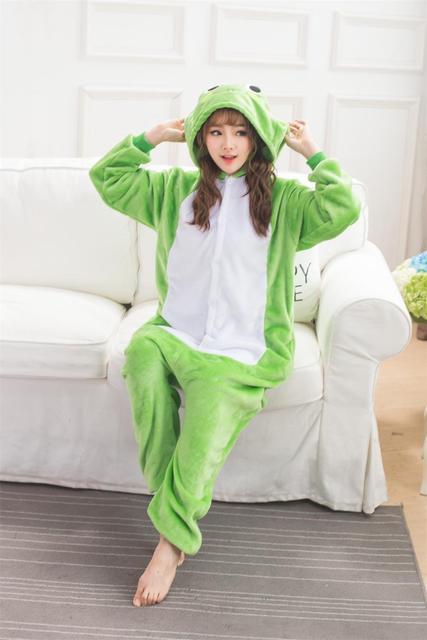 Green Frog Onesie Animal Pajamas Flannel Pijama Cartoon Cosplay Kigurumi  Onesies Sleepwear Adult Sleepwear Unisex Homewear a905f73b4cd43