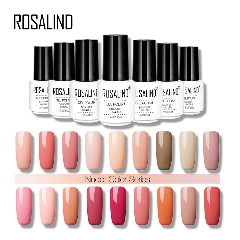 ROSALIND Gel Nail Polish 7ml Nude Color Series Color UV Builder Gel UV Acrylic For Nail Art False Tips Extension Gel Lacquer