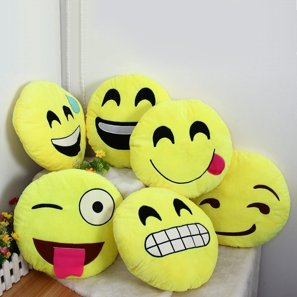Squishy Squooshems Cuddle Plush Pillow : 33cm Emoji Pillow Smiley Emotion Round Throw Pillow Stuffed Plush Soft Toy QQ Facial Emotions ...